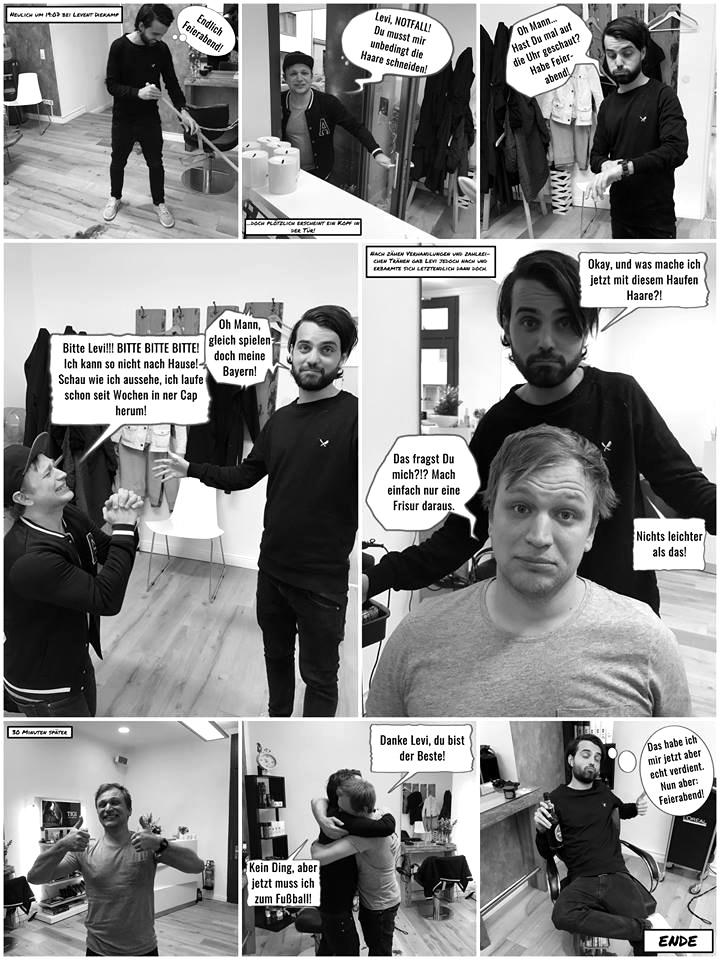 Ein Besuch beim Friseur Levent Diekamp als Comic